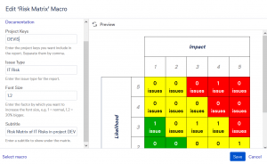 Risk Matrix Macro Dialog